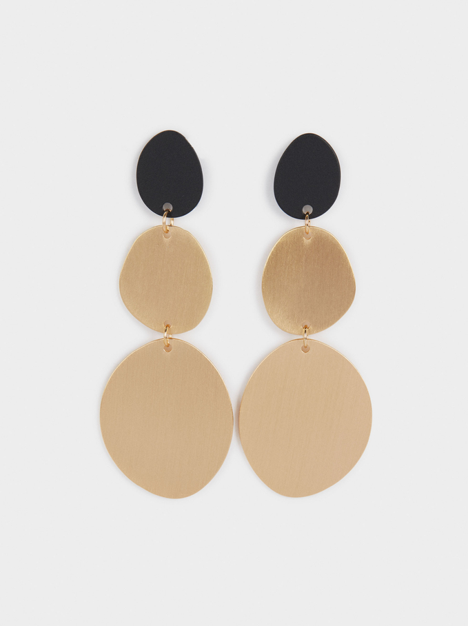 Extra Long Earrings With Pendants, Black, hi-res