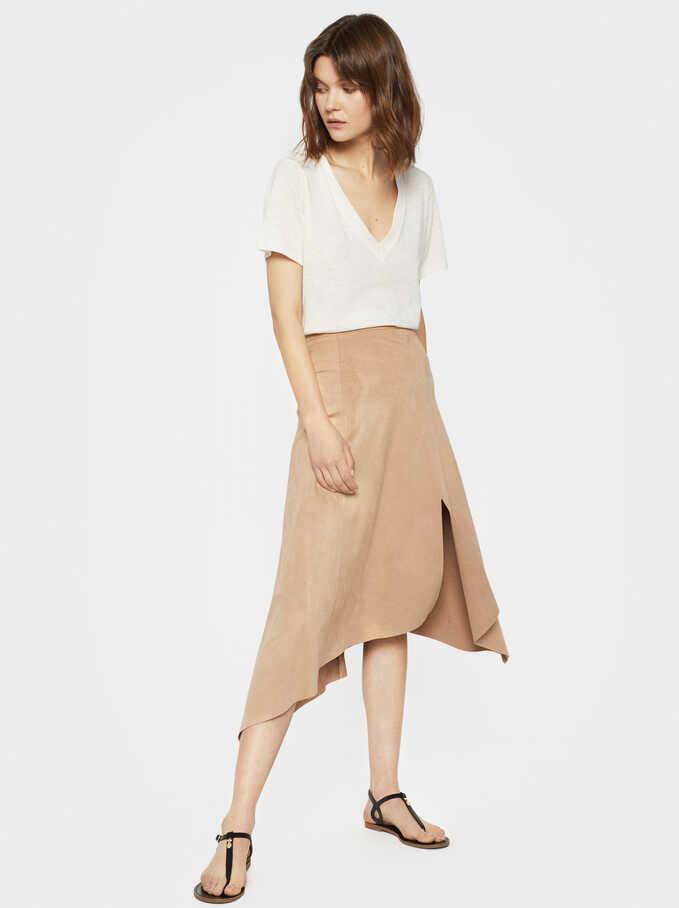Asymmetrical Faux Suede Skirt, Beige, hi-res