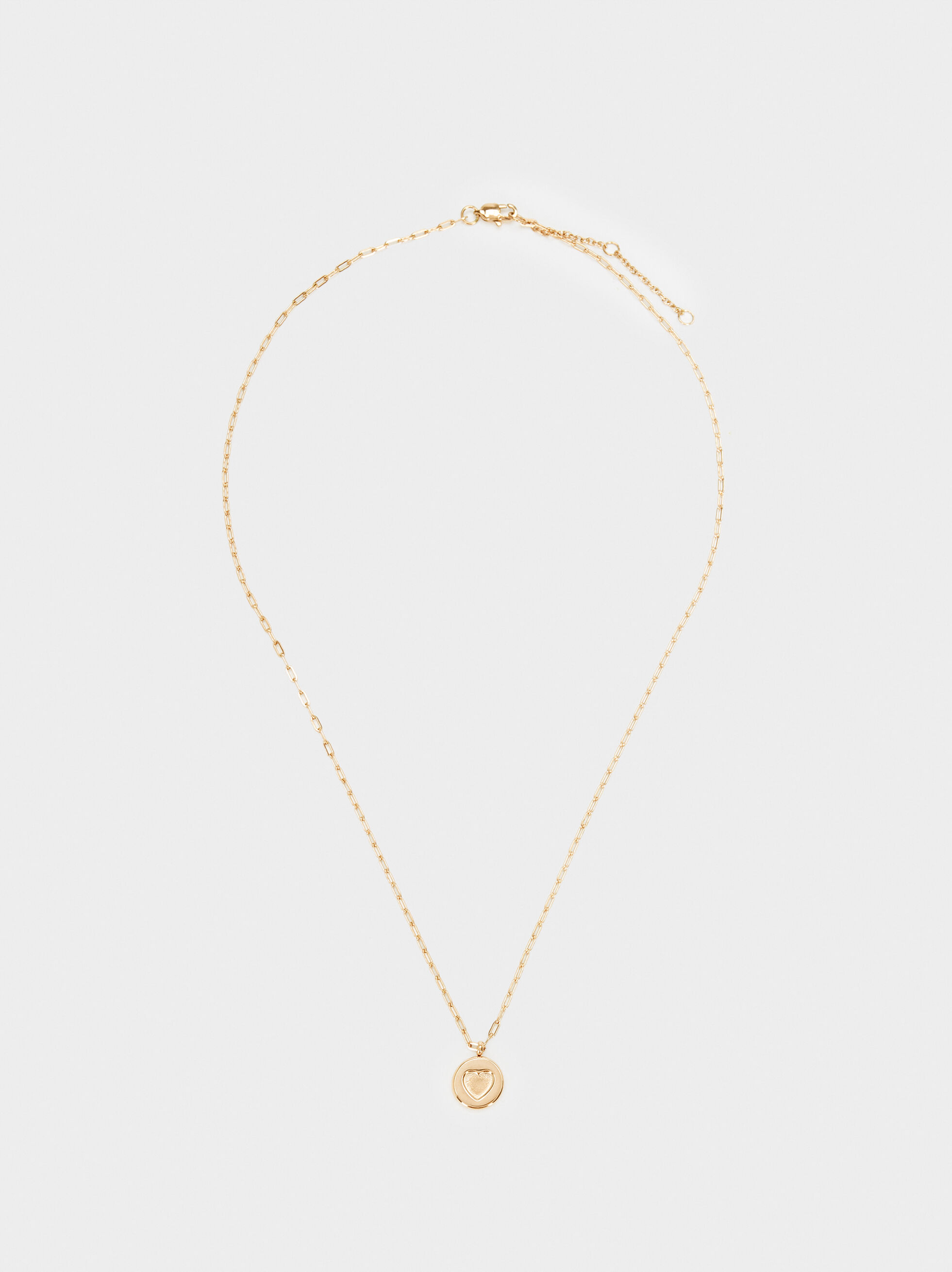 Stainless Steel Gold Short Necklace With Heart Charm, , hi-res