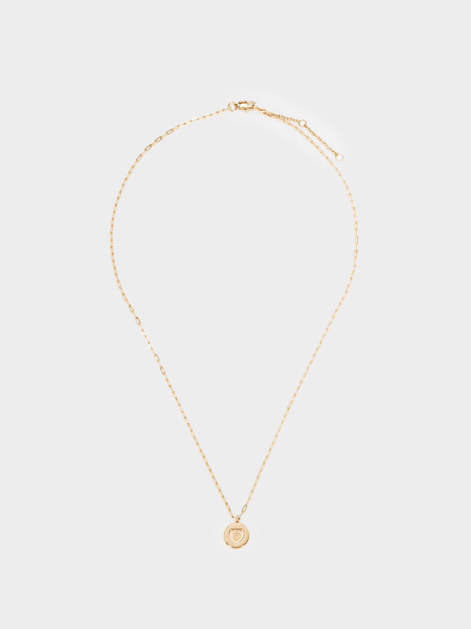 Stainless Steel Gold Short Necklace With Heart Charm, Golden, hi-res