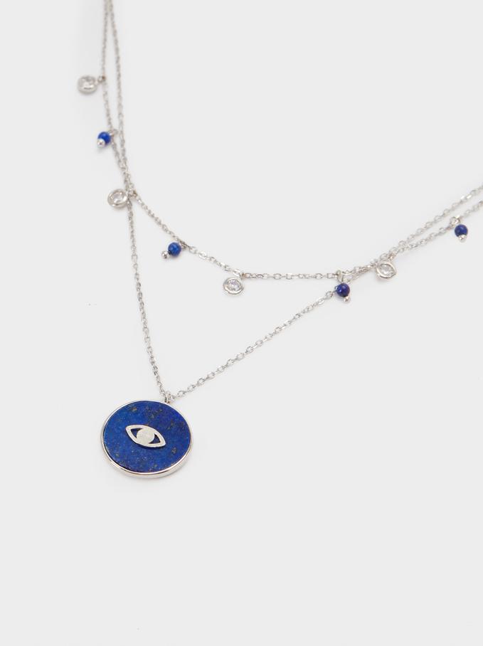 Collar Corto De Plata 925 Piedra Y Ojo, Azul, hi-res