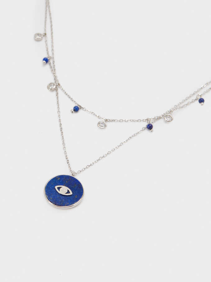 Short 925 Silver Stone And Eye Necklace, Blue, hi-res