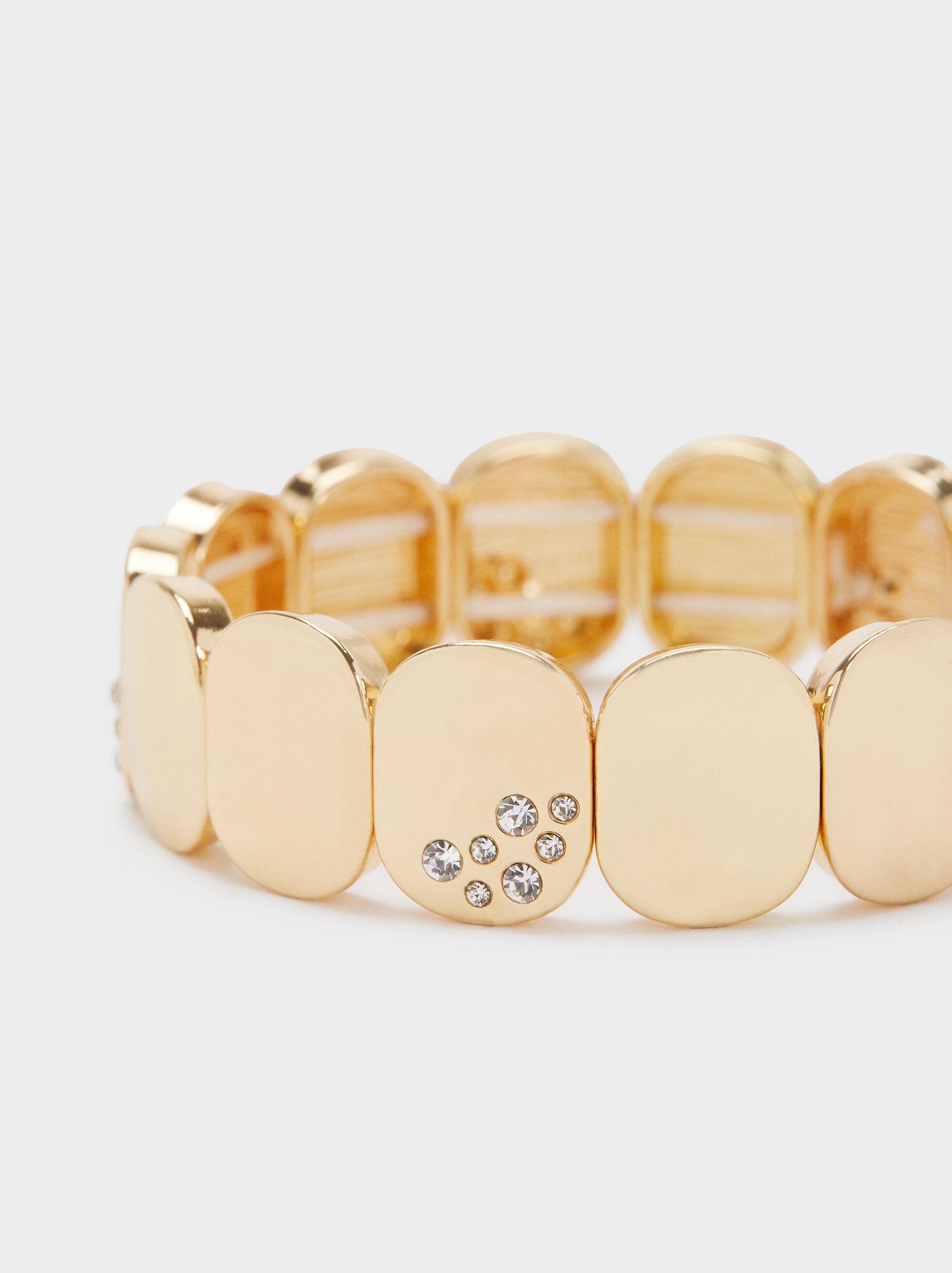 Elastic Bracelet With Rhinestones, Golden, hi-res