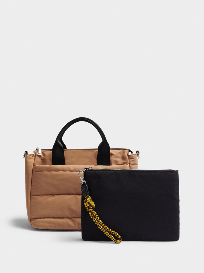 Quilted Nylon Tote Bag, Camel, hi-res