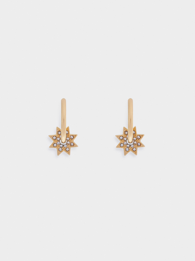 Stainless Steel Small Hoop Earrings With Star, Golden, hi-res
