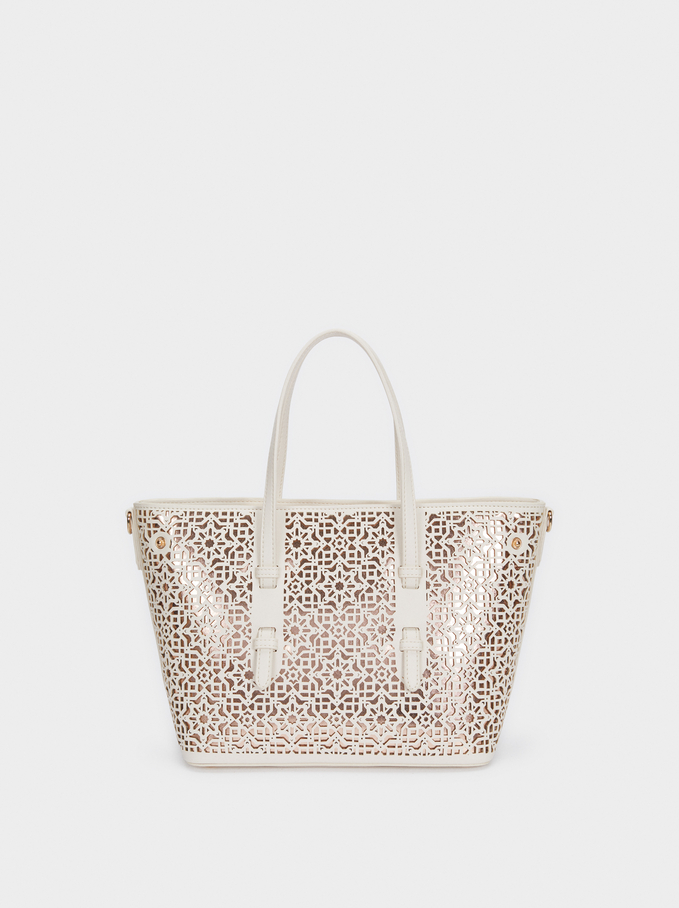 Tote Bag With Openwork Detailing, Ecru, hi-res