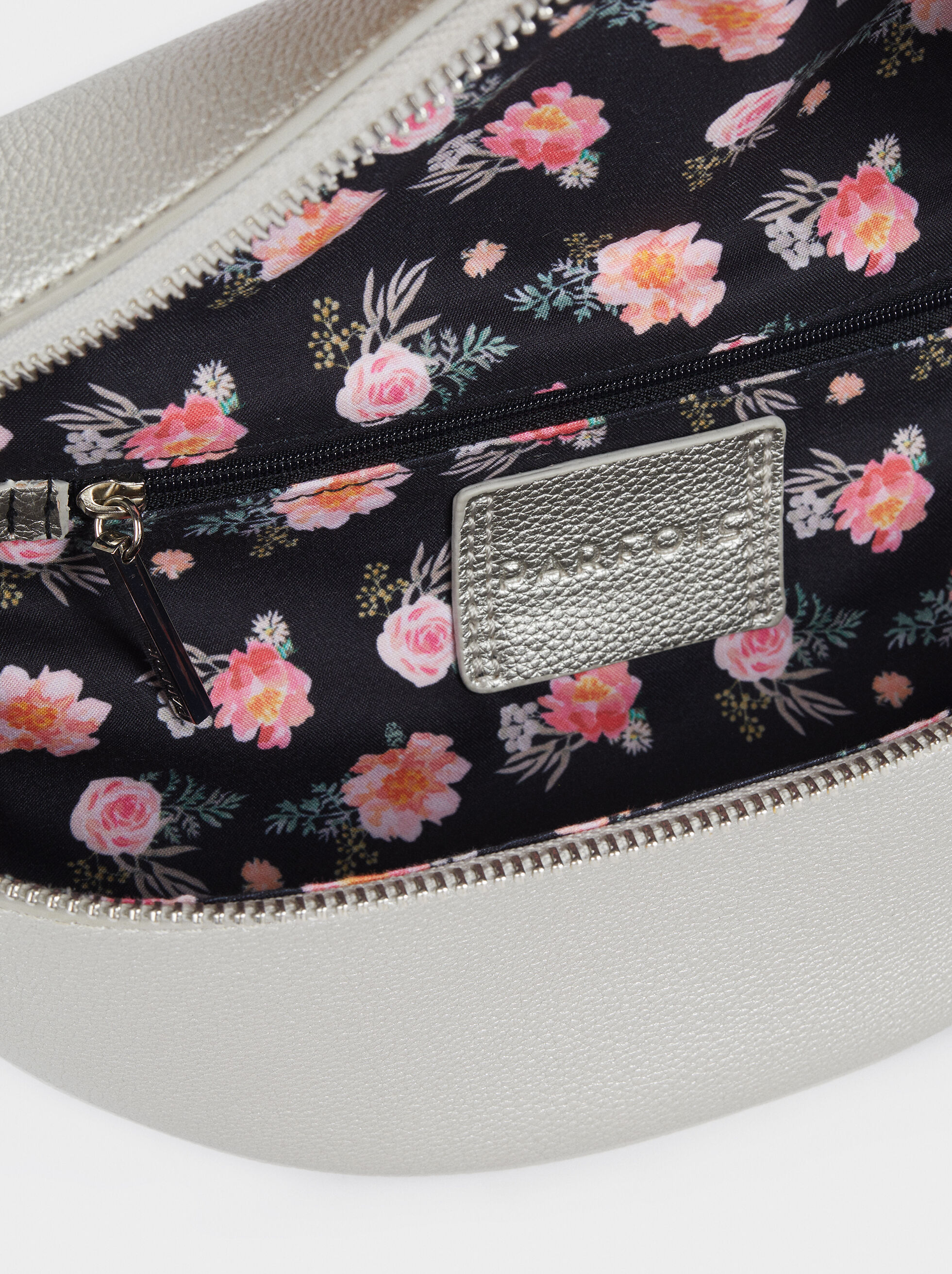 Crossbody Belt Bag With Floral Detailing, Silver, hi-res