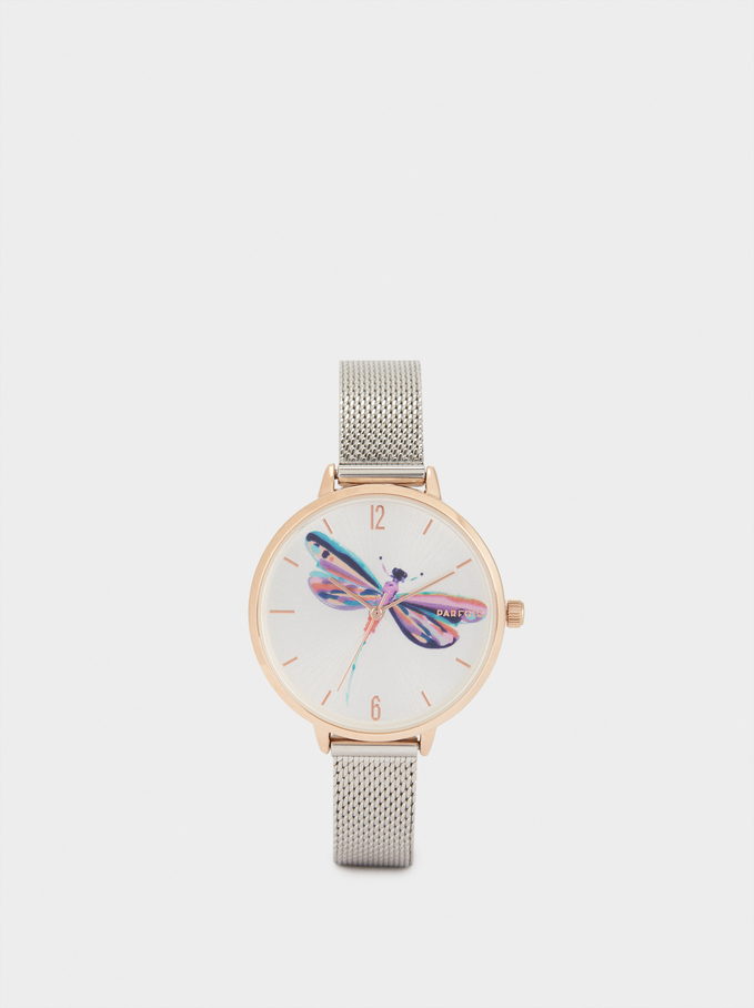 Dragonfly Sphere Steel Bracelet Watch, Silver, hi-res
