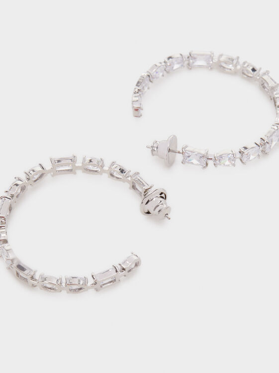 Sparkling Large Hoop Earrings, Silver, hi-res