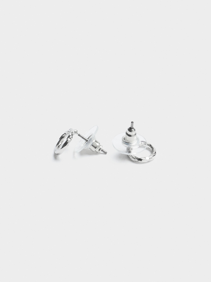 Short Silver Earrings, Silver, hi-res