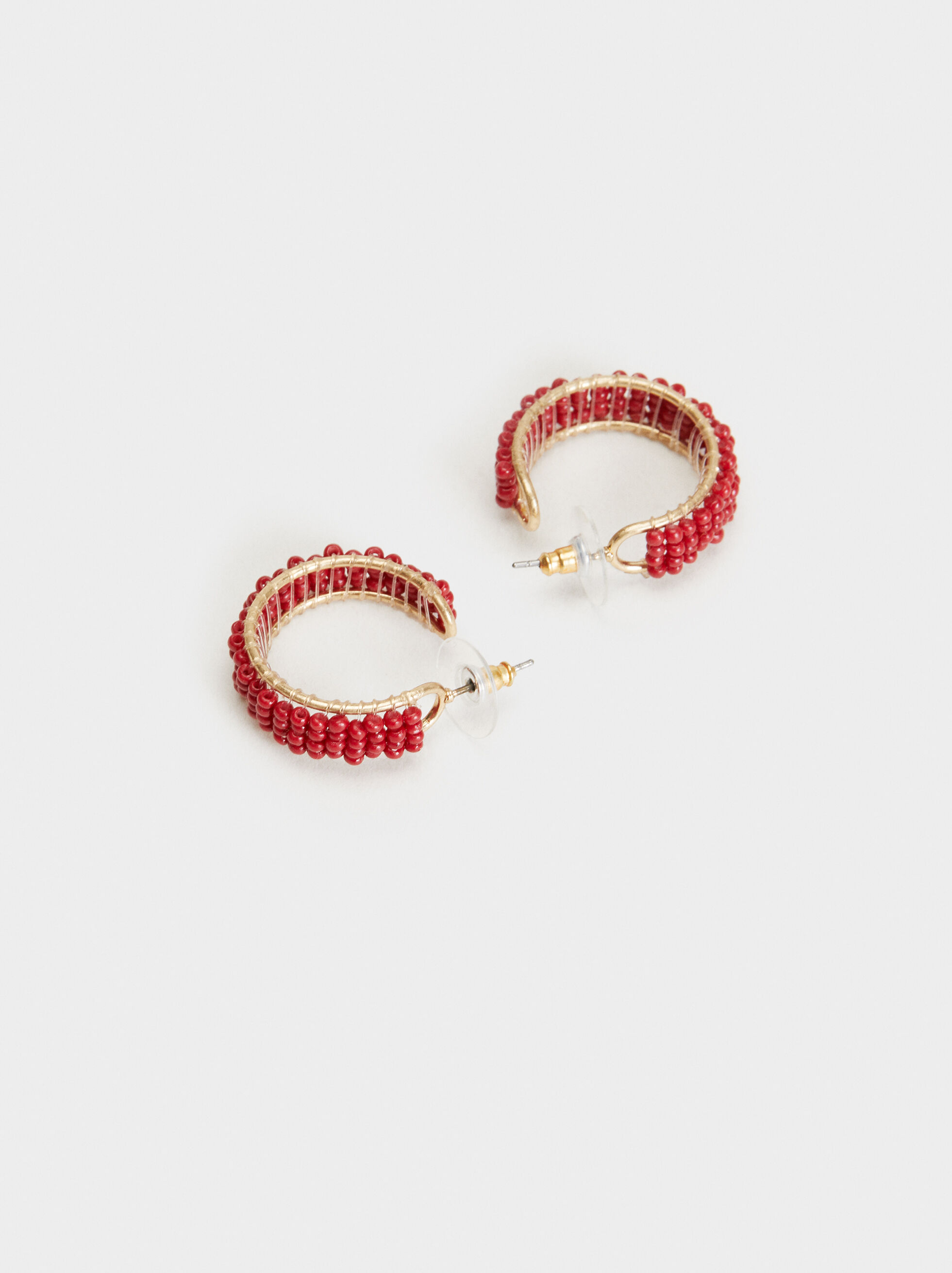 Cherry Blossom Small Hoop Earrings, Bordeaux, hi-res