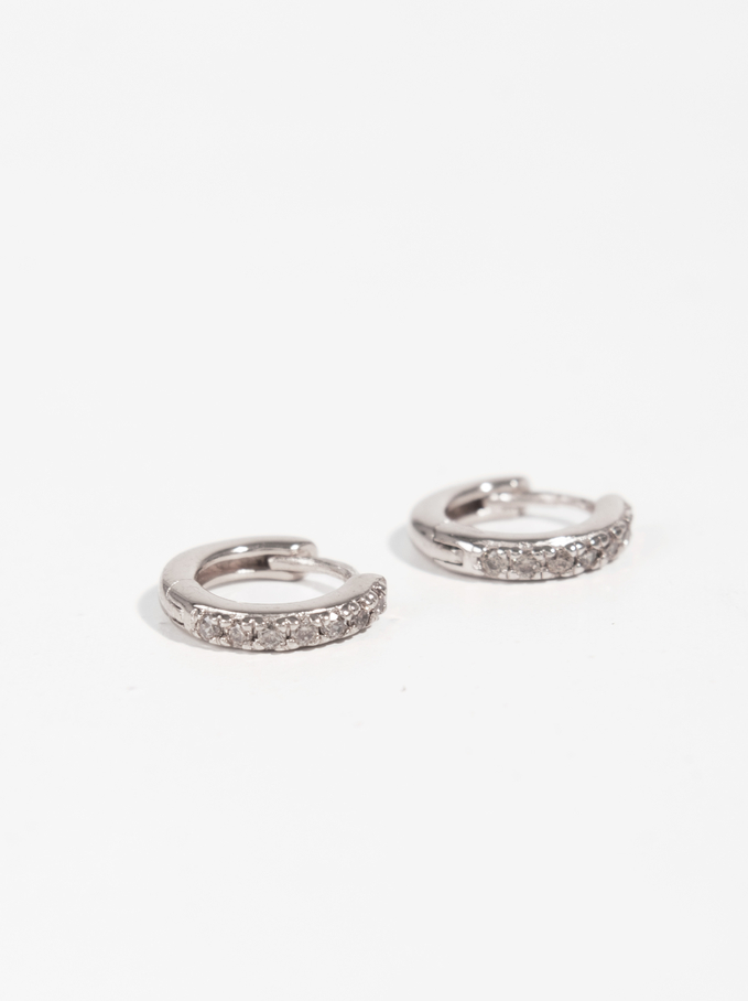 925 Silver Short Hoop Earrings With Zirconia, Silver, hi-res
