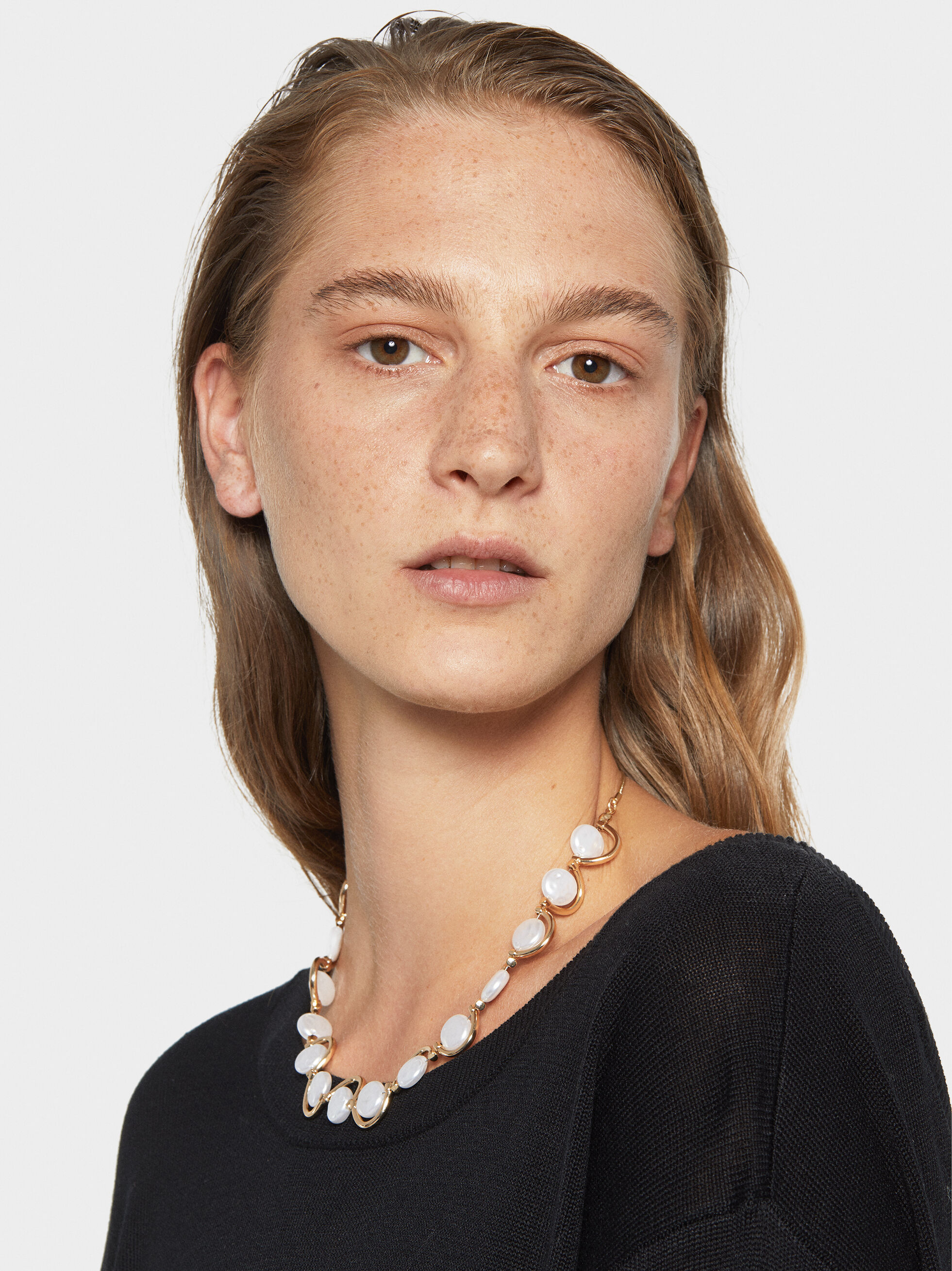 Fancy Pearls Necklace, White, hi-res