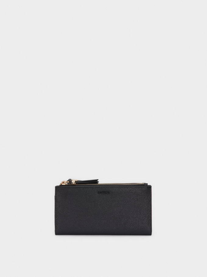 Embossed Wallet, Black, hi-res