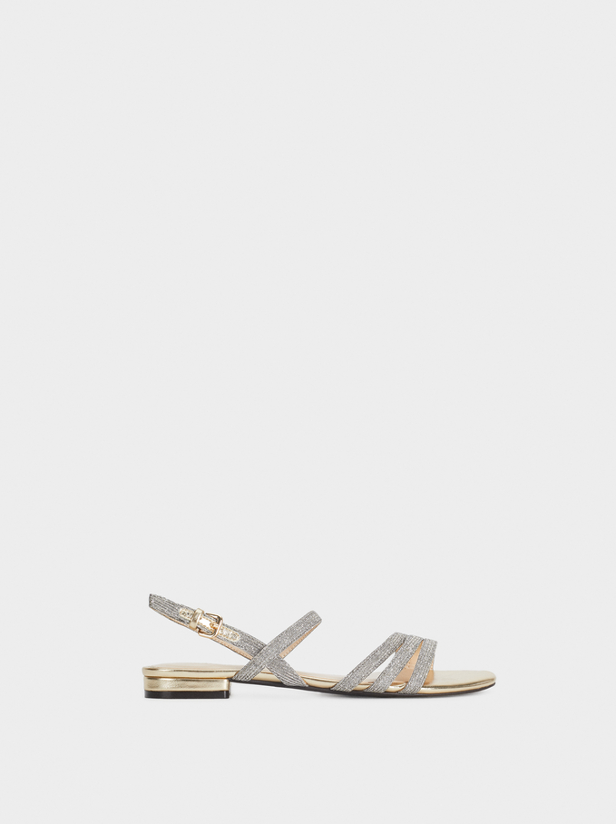 Glittery Sandals, Golden, hi-res