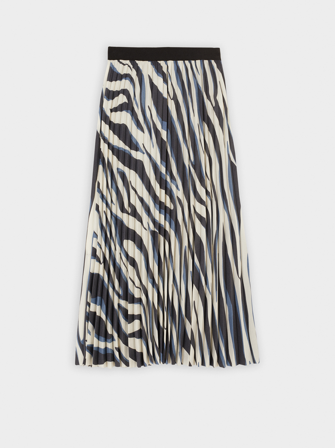 Animal Print Skirt, Blue, hi-res