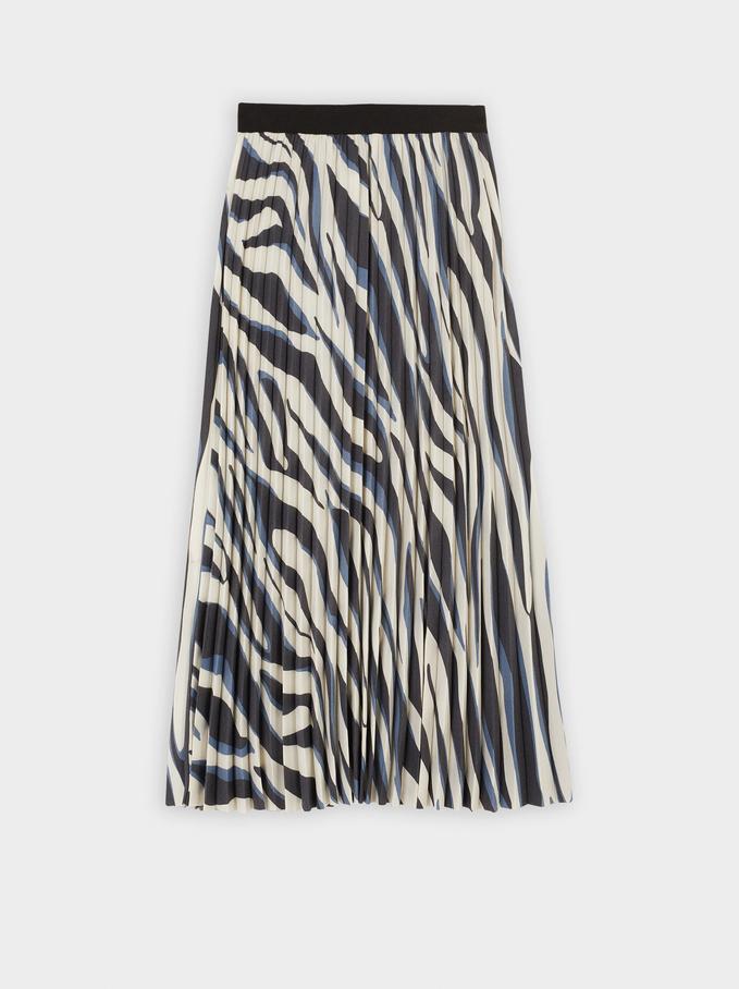 Falda Estampado Animal, Azul, hi-res