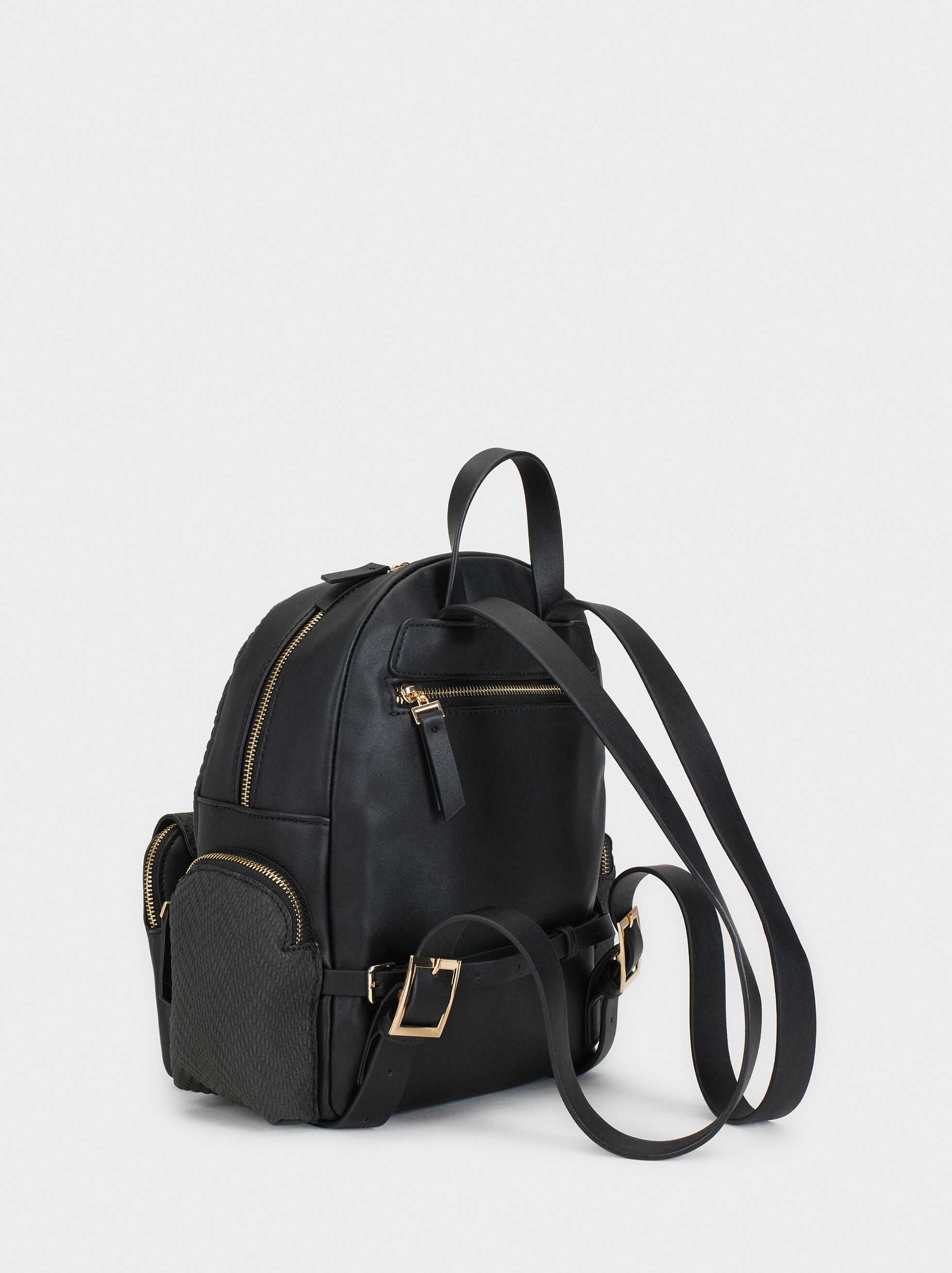Embossed Backpack, Black, hi-res