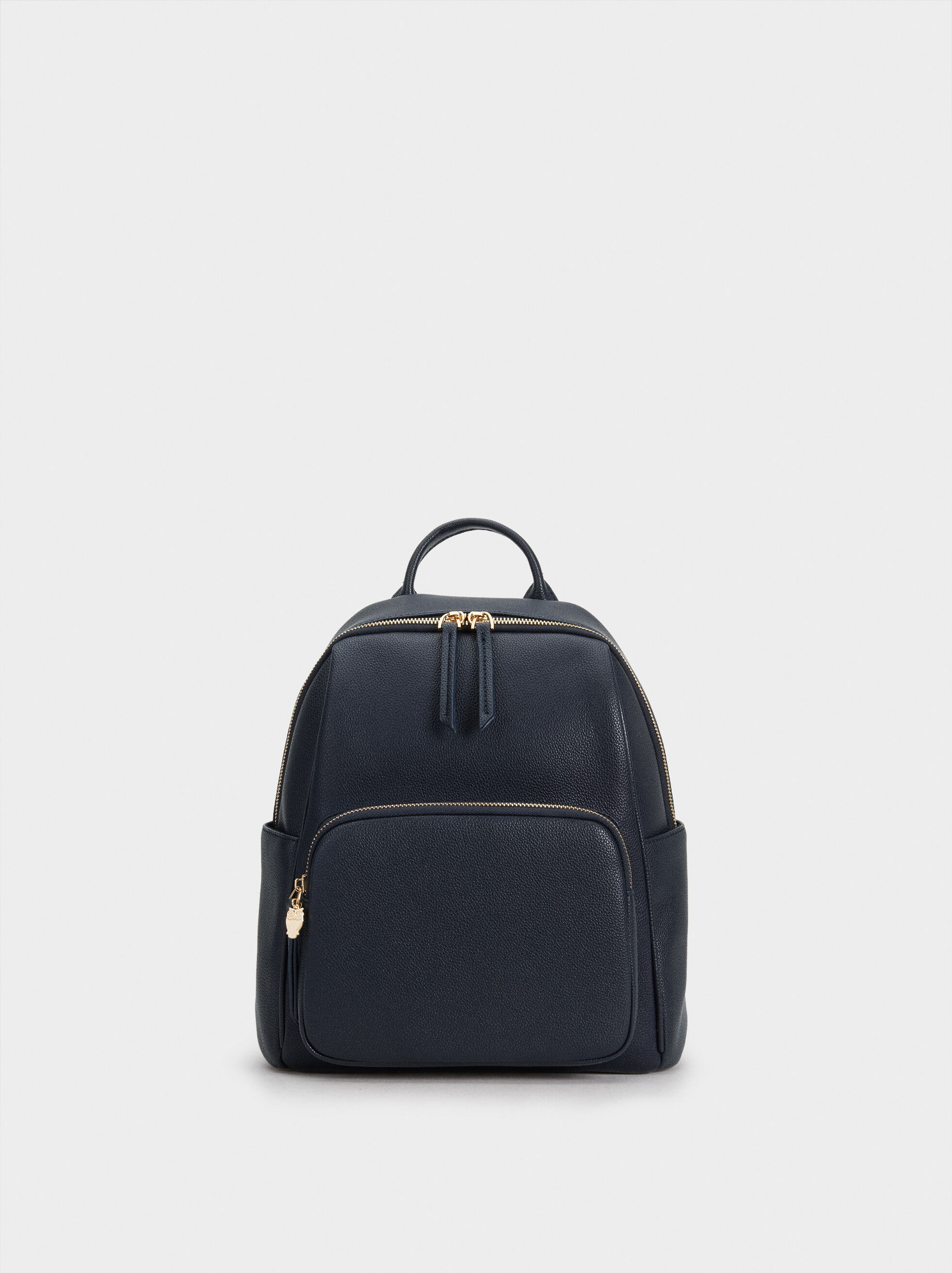 Backpack With Outer Pocket, Navy, hi-res