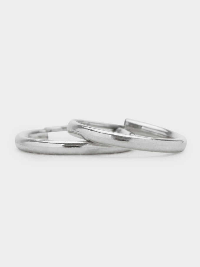 Small 925 Silver Hoop Earrings, Silver, hi-res