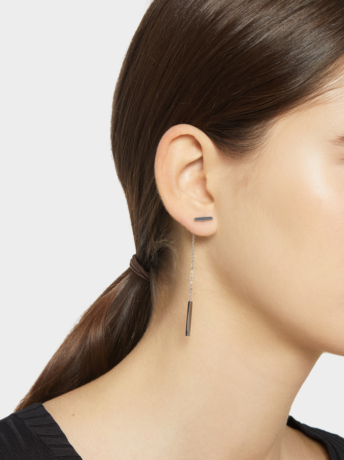 Steel Long Earrings, Silver, hi-res