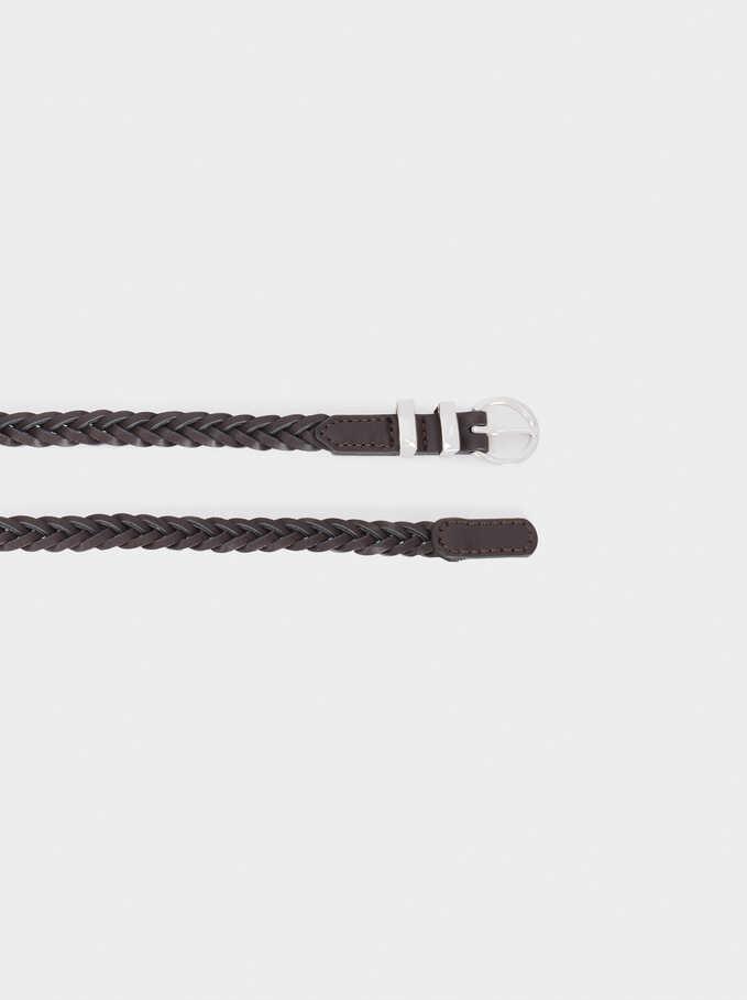 Braided Belt, Brown, hi-res