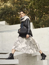 Animal Print Pleated Skirt, White, hi-res