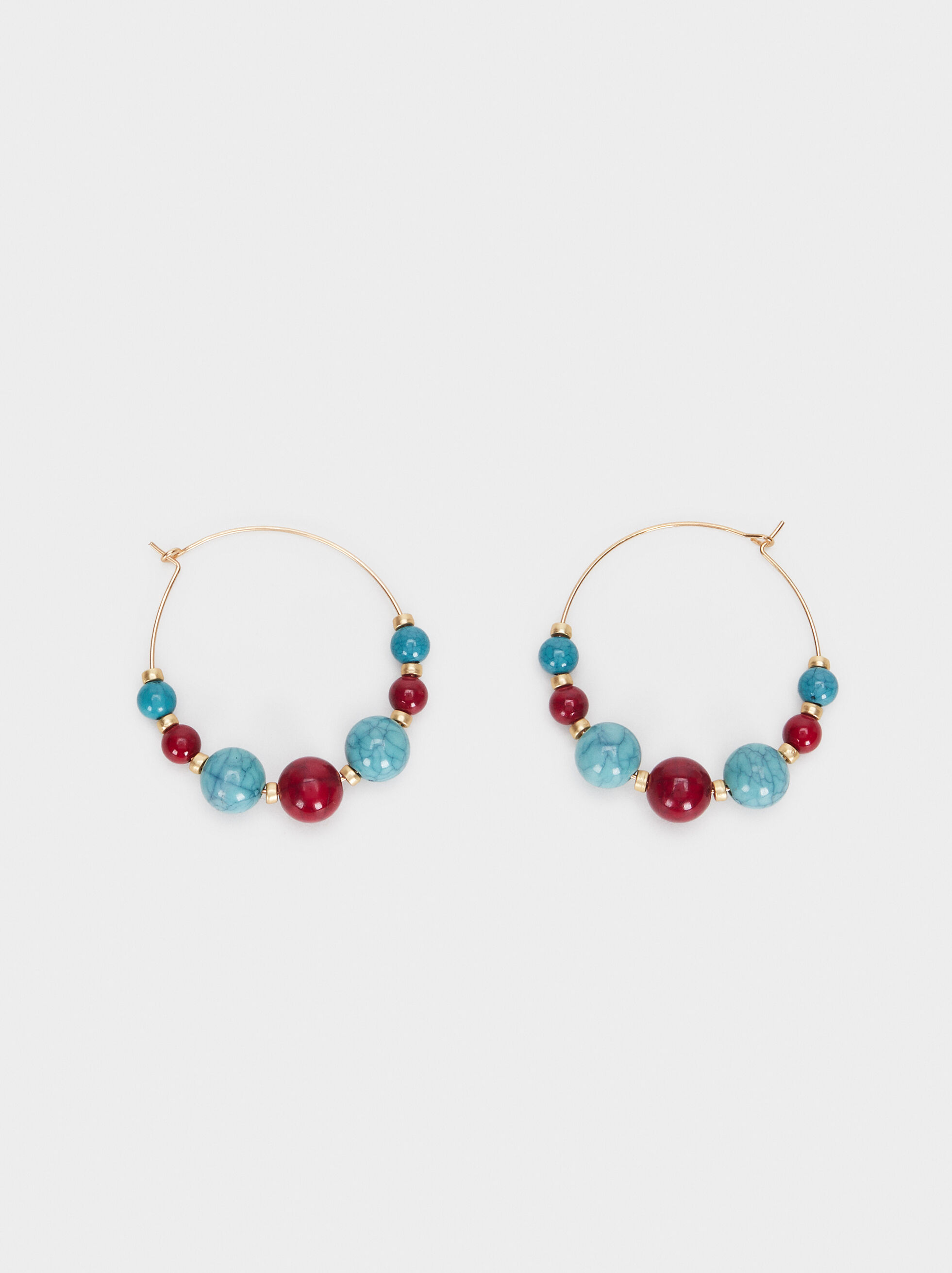 Cherry Blossom Medium Hoop Earrings, Multicolor, hi-res