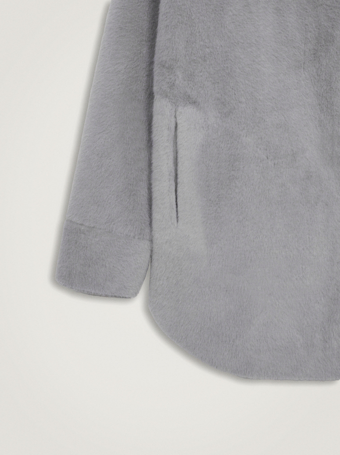 Fur Coat With Pockets And Button Closure, Grey, hi-res