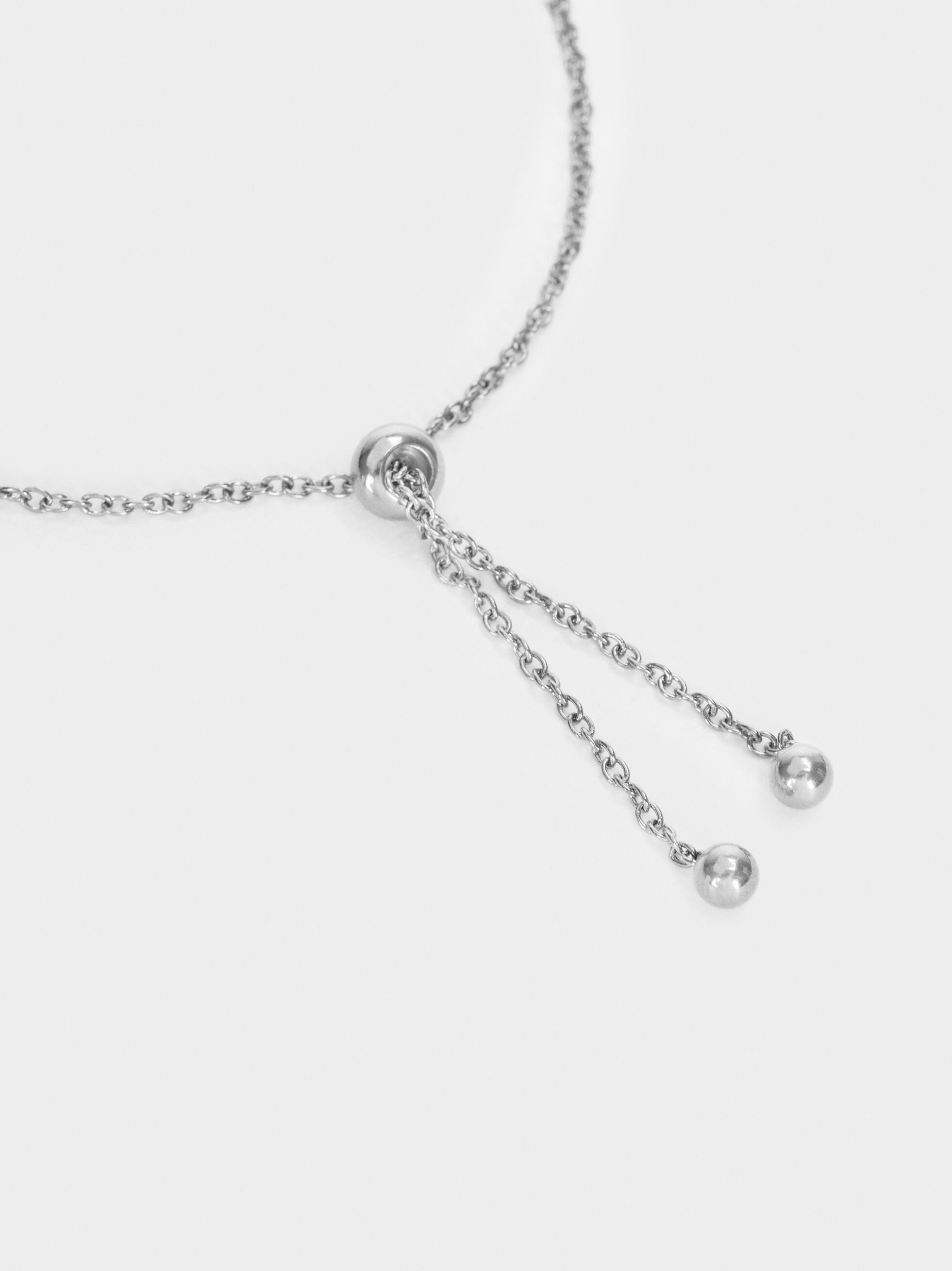 Stainless Steel Bracelet With Silver-Plated Heart, Silver, hi-res