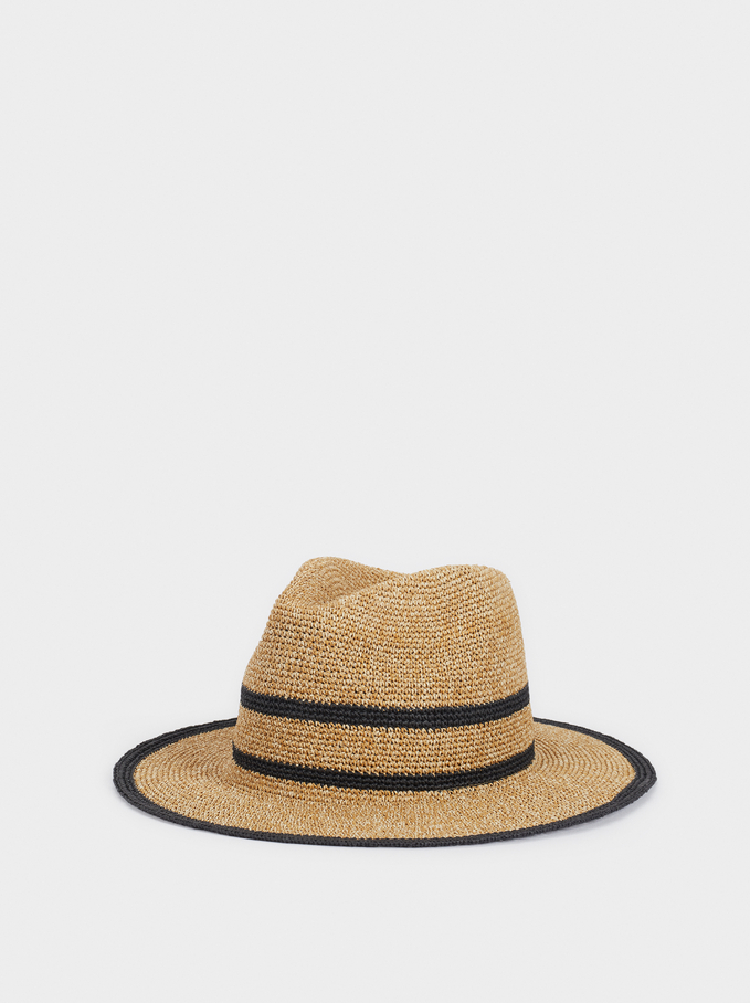 Raffia Textured Hat, Beige, hi-res