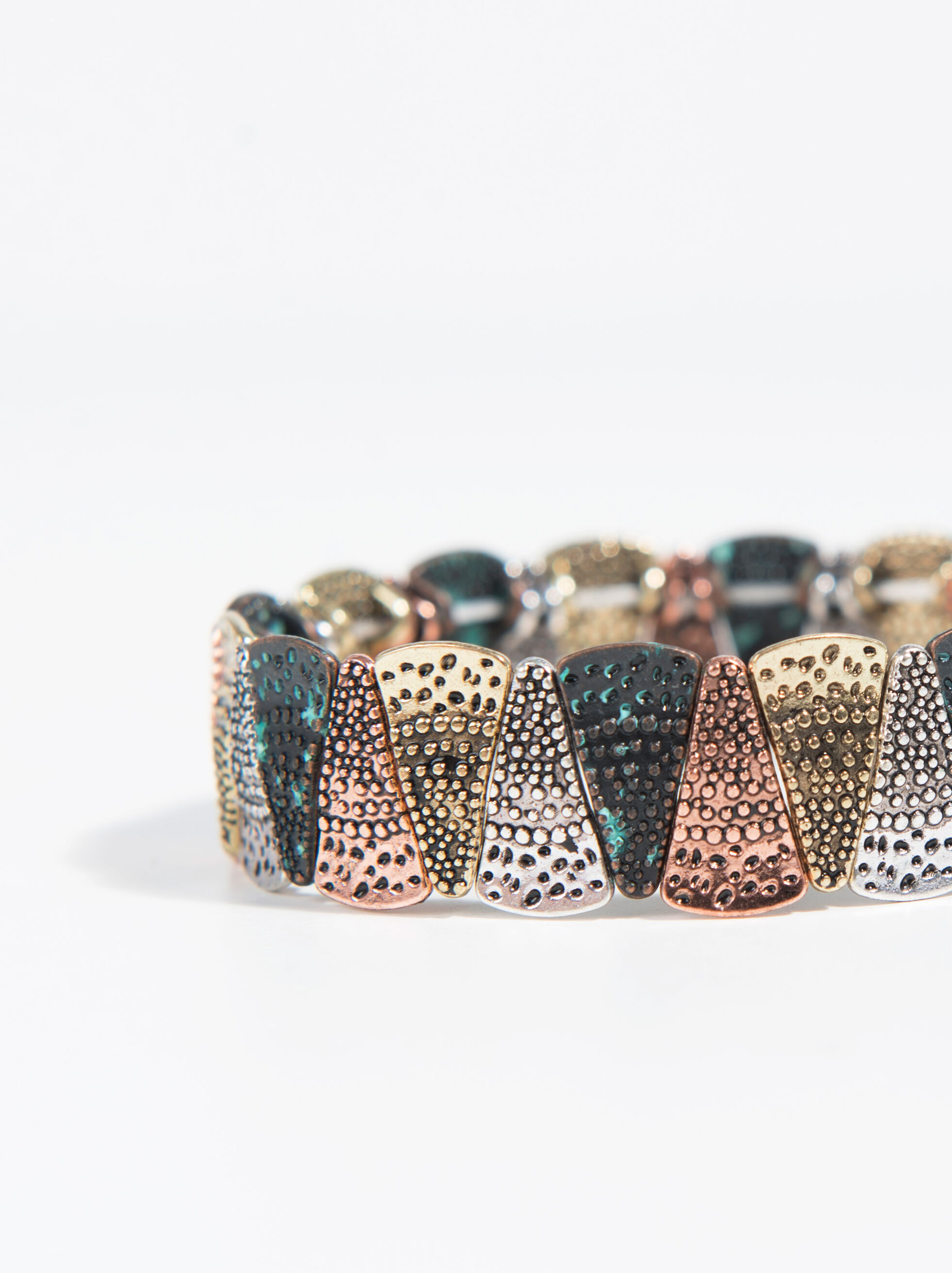 Three-Tone Elastic Bracelet, Multicolor, hi-res