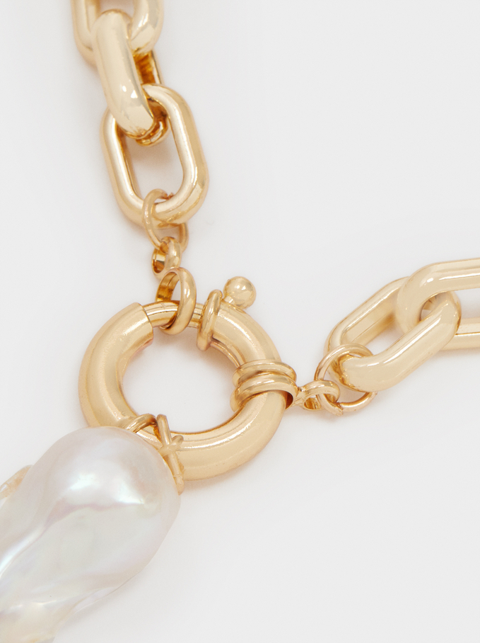 Short Gold-Toned Chain Necklace With Pearl, Golden, hi-res