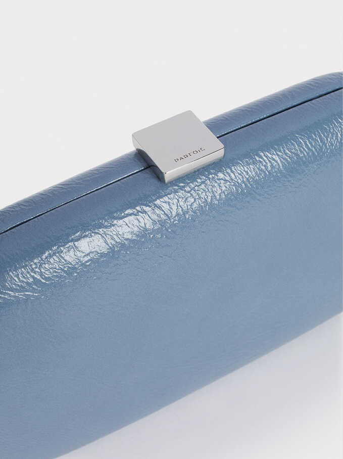 Party Clutch With Chain Handle, Blue, hi-res