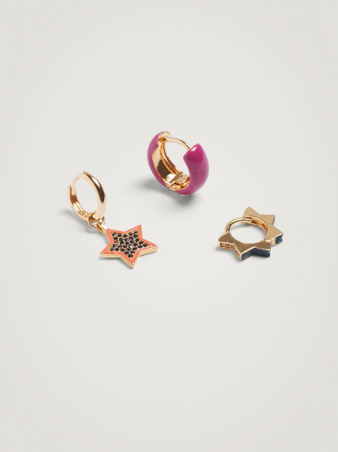 Set De Créoles Avec Étoile Et Zircone, Multicolore, hi-res