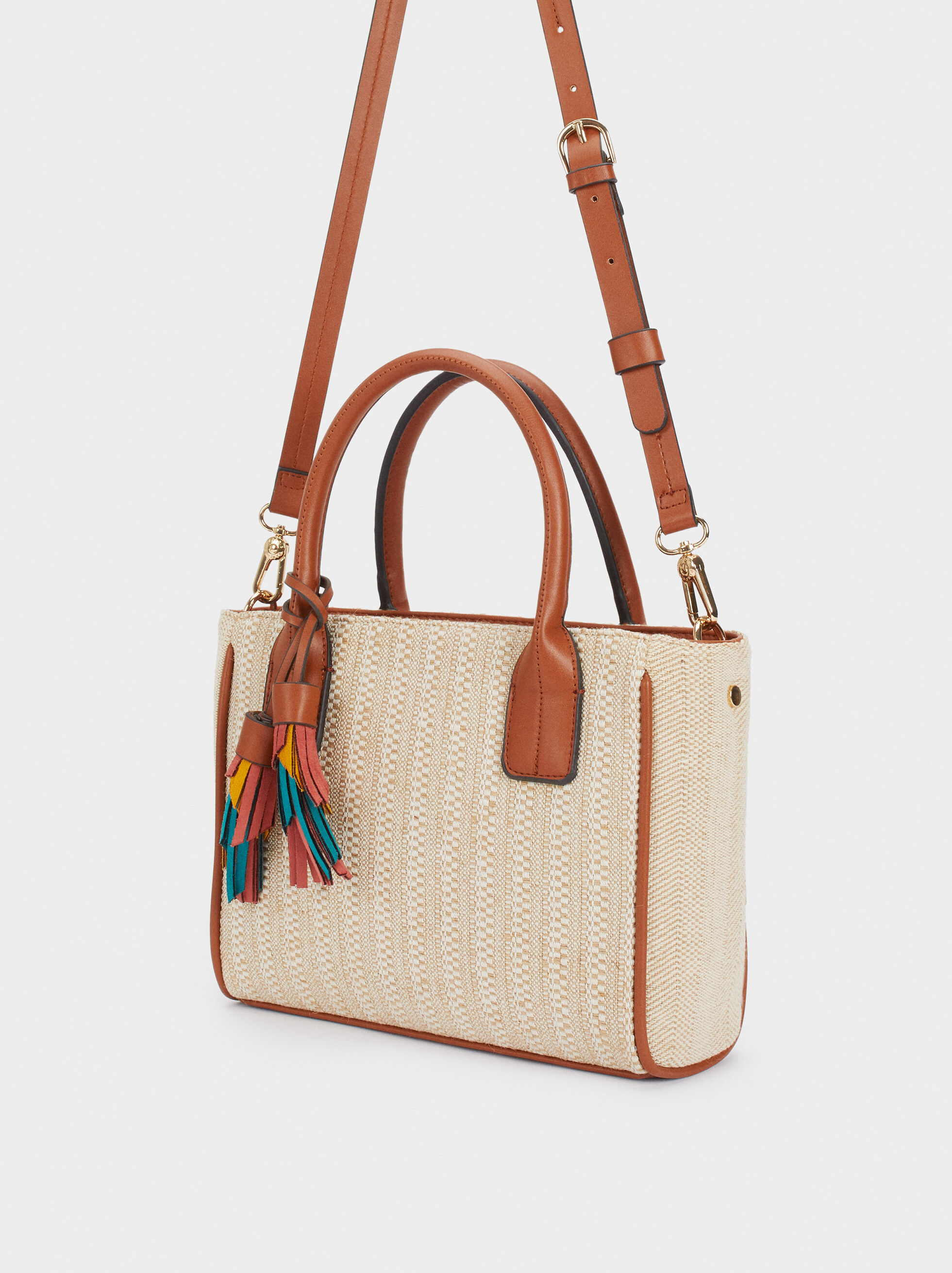 Shopper Bag With A Multicoloured Charm, Beige, hi-res