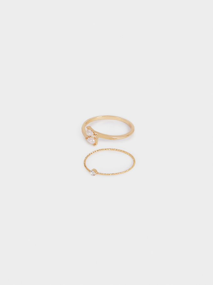 Set Of Pearl And Crystal Rings, Golden, hi-res