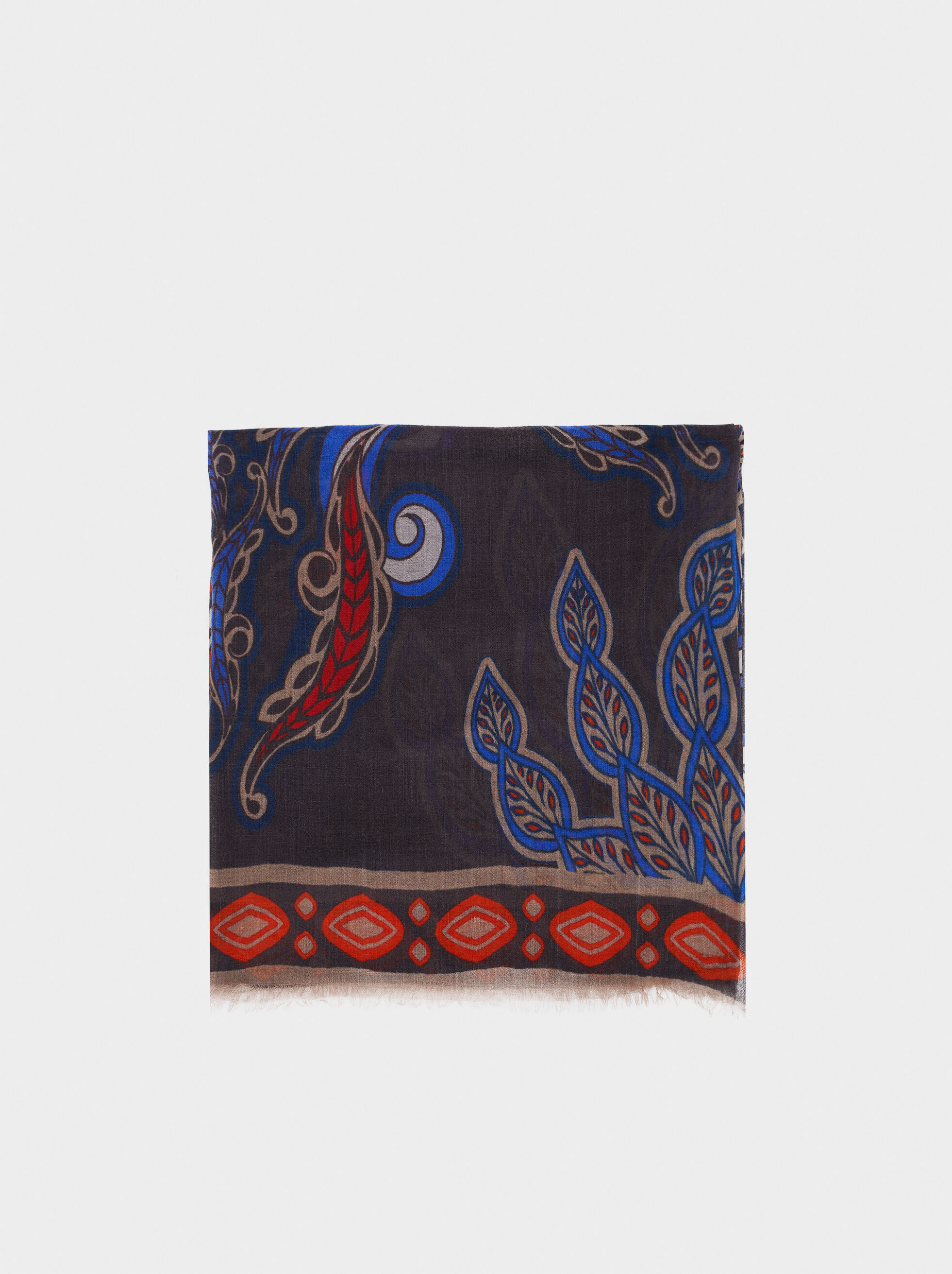 Printed Wool Scarf, Navy, hi-res