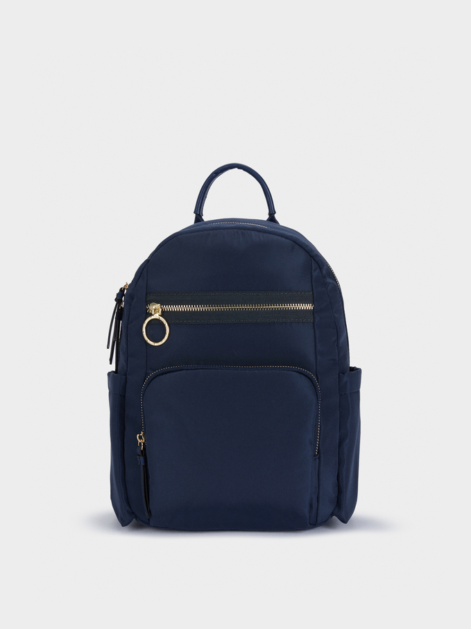 Nylon Backpack With Exterior Pockets, Navy, hi-res