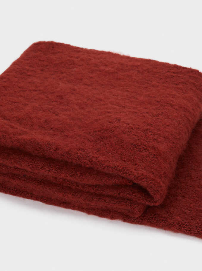 Plain Maxi Scarf, Brick Red, hi-res