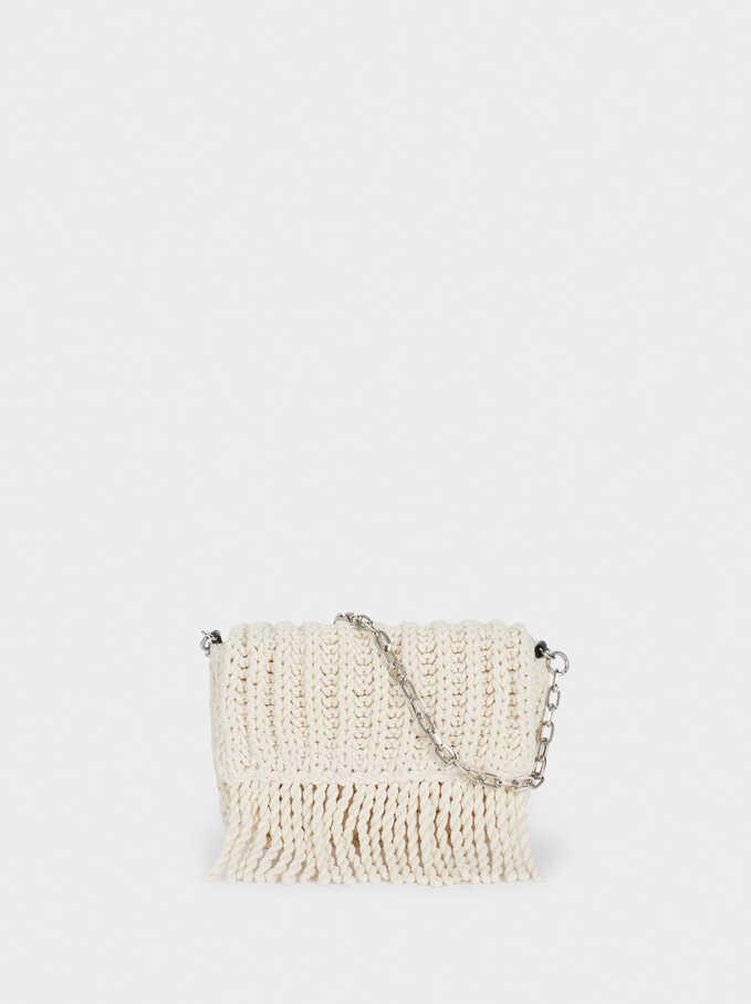 Handbag With Embroidery, Ecru, hi-res