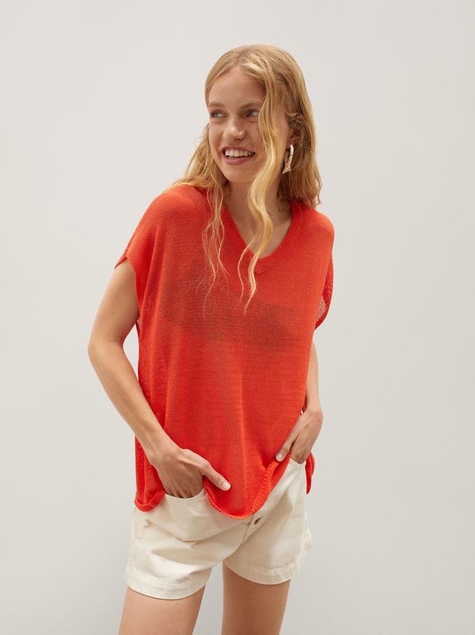 Camisola De Malha Com Decote Em Bico, Vermelho, hi-res