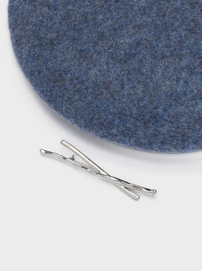 Wool Beret With Silver Pin, Blue, hi-res