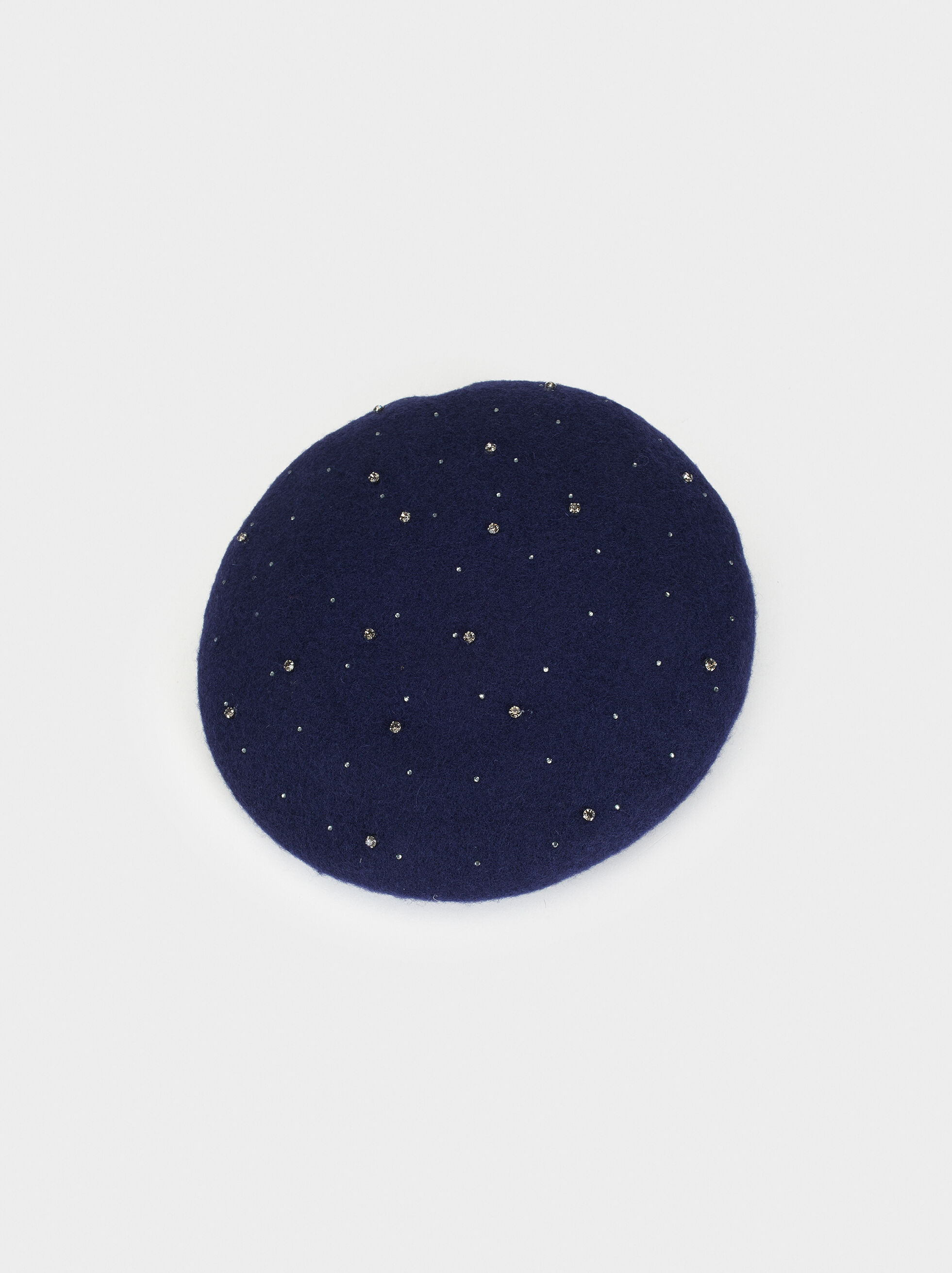 Wool Beret With Rhinestones, Navy, hi-res
