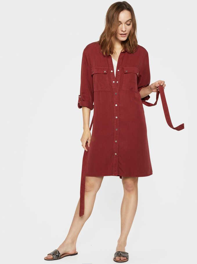 Basic Shirt Dress, Brick Red, hi-res