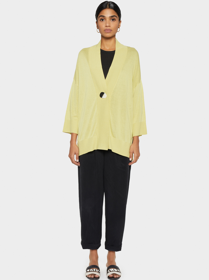 Cardigan With Button Detail, Yellow, hi-res