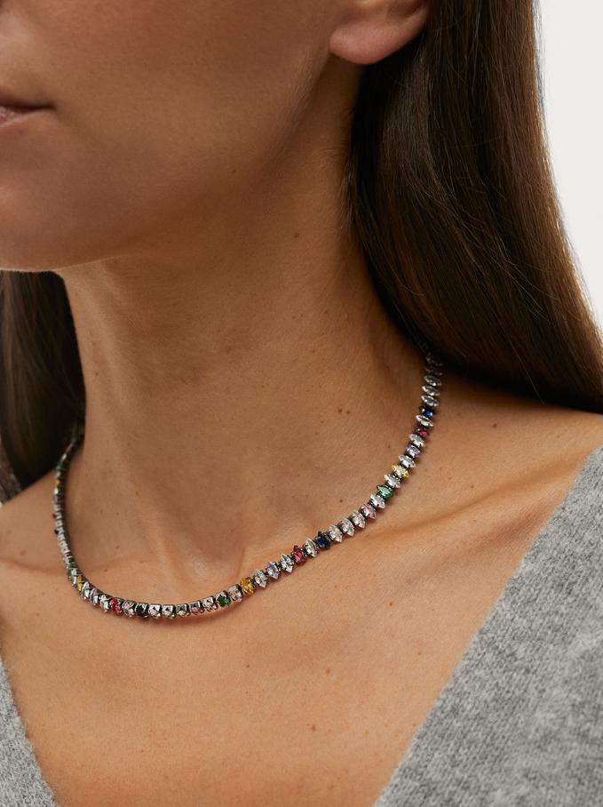 Short Chain Necklace With Zirconia, Multicolor, hi-res