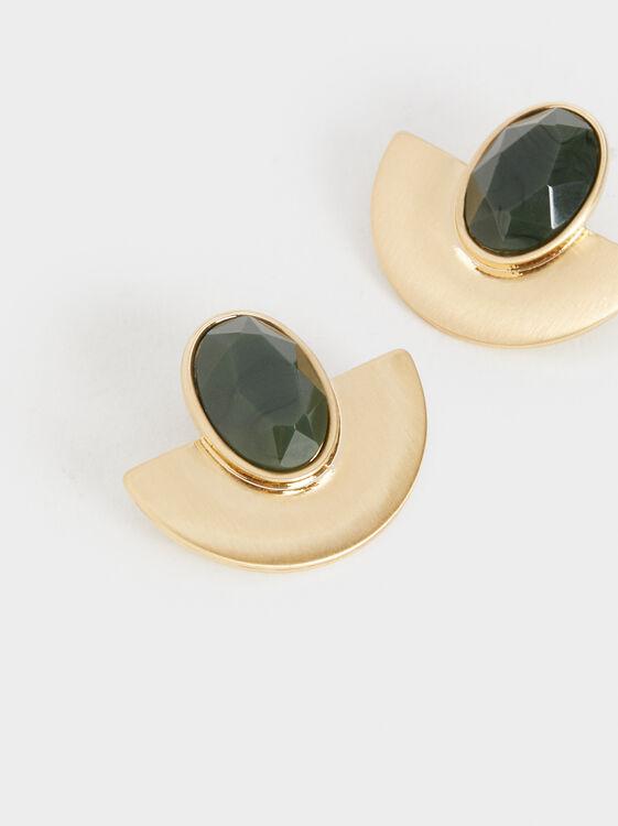 Stone Story Earrings, Green, hi-res