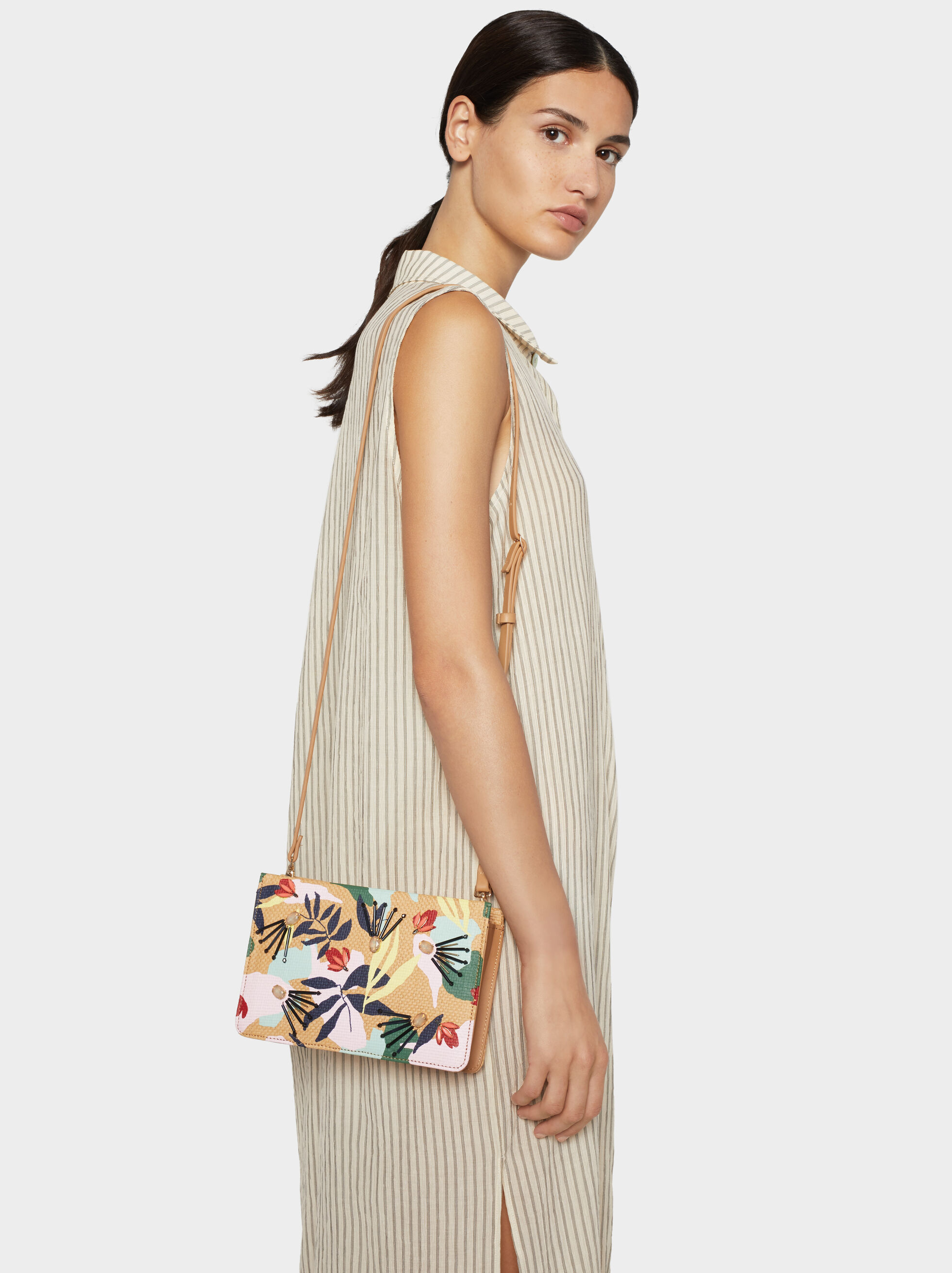 Raffia Effect Crossbody Bag, Ecru, hi-res