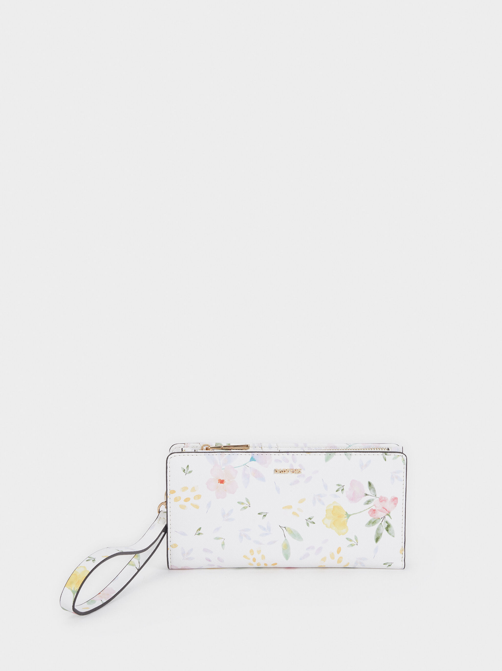 Floral Print Purse With Handle, White, hi-res